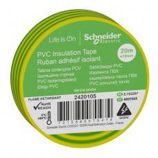Изолента Schneider Electric Желто-зеленая ПВХ 19мм/20м (2420105)