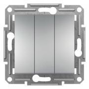 Выключатель трехклавишный, Алюминий, Asfora EPH2100161