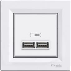 USB розетка 2,1A Asfora белая EPH2700221
