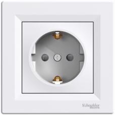 Розетка с заземлением и защитными шторками Asfora Белый  EPH2900221