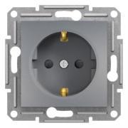 Розетка с заземлением и шторками Schneider Asfora EPH2900262 сталь