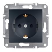 Розетка с заземлением и шторками Schneider Electric Asfora EPH2900271 антрацит