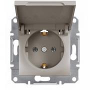 Розетка с заземлением и крышкой Schneider Electric Asfora EPH3100169 бронза