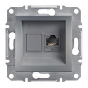 Розетка компьютерная RJ45 кат.5е UTP, на 1 гнездо Schneider Asfora EPH4300162 сталь