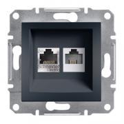Розетка телефонная и компьютерная (RJ12+RJ45) Schneider Electric Asfora EPH4900171 антрацит