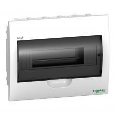 Щит пластиковый встраиваемый 1 ряд 12 модулей Schneider Easy9 EZ9E112S2F черная прозрачная дверь