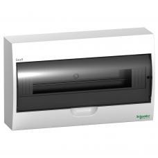 Щит пластиковый навесной 1 ряд 18 модулей Schneider Easy9 EZ9E118S2S черная прозрачная дверь
