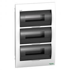 Щит пластиковый встраиваемый 3 ряда по 12 модулей Schneider Easy9 EZ9E312S2F черная прозрачная дверь