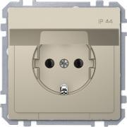 Розетка силовая IP44 с крышкой 2К+З, 16А, 250В, безвинт.заж., со шторками, Schneider Merten D-Life Сахара