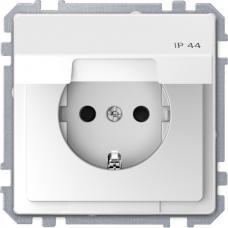 Розетка силовая IP44 с крышкой 2К+З, 16А, 250В, безвинт.заж., со шторками, Schneider Merten D-Life Белый лотос