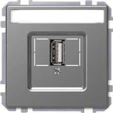 Розетка USB 2.0, одинарный, Schneider Merten D-Life Нержавеющая сталь