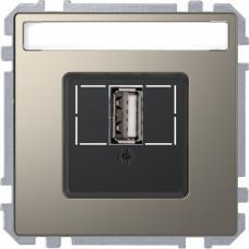 Розетка USB 2.0, одинарный, Schneider Merten D-Life Никель
