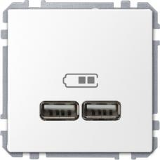 Розетка USB двойная зарядное устройство Schneider Merten D-Life Белый лотос