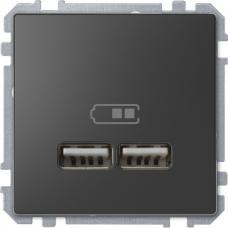 Розетка USB двойная зарядное устройство Schneider Merten D-Life Антрацит