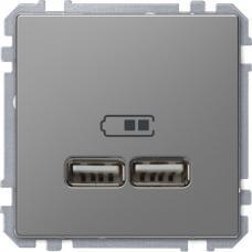 Розетка USB двойная зарядное устройство Schneider Merten D-Life Нержавеющая сталь
