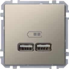 Розетка USB двойная зарядное устройство Schneider Merten D-Life Никель