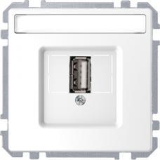 Розетка USB 2.0, одинарный, Schneider Merten D-Life Белый лотос
