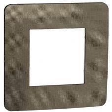 Рамка 1-постовая, бронза/белый, Schneider Unica New Studio Metal (NU280250)