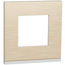 Рамка 1-постовая горизонтальная, клен, Schneider Unica New Studio Pure (NU600283)