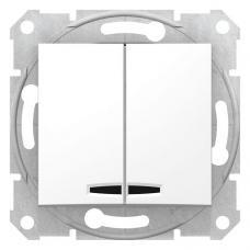 Выключатель двухклавишный с синей подсветкой Седна SDN0300321 белый