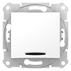 Выключатель одноклавишный с синей подсветкой Седна SDN1400121 белый