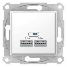 Розетка USB на 2 выхода Schneider Sedna Белая