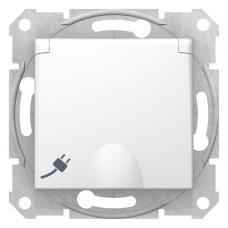 Розетка с крышкой и шторками Седна SDN3100121 белая