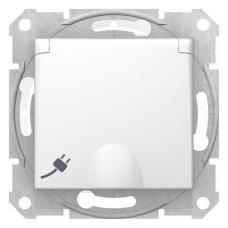Розетка с крышкой и защитными шторками IP44 Седна SDN3100321 белая