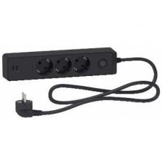 Удлинитель 3-й с заземлением+2*USB черный 1.5 метра Schneider Unica Extend (ST943U1B)