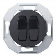 Выключатель двухклавишный проходной Renova Черный